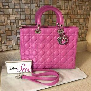 Auth. Dior Fuschia Pink Large Lady Dior Handbag